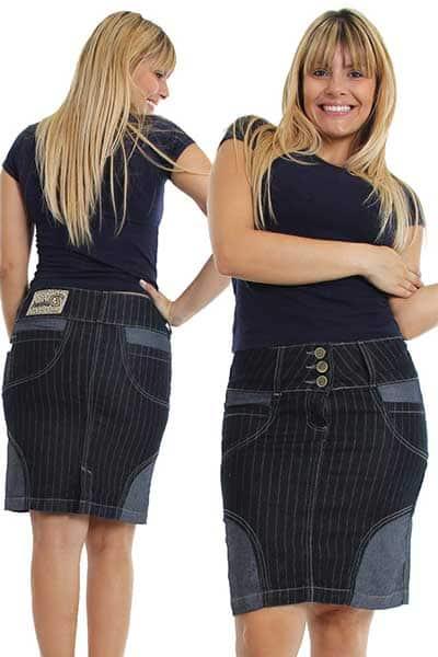 modelos de Saia jeans com listras