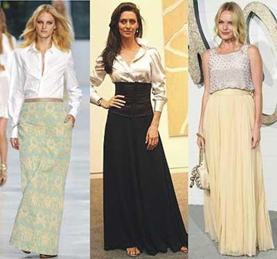 modelos longos de saias